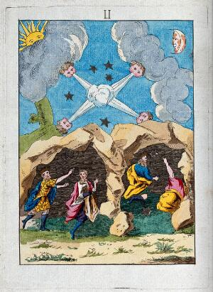 view The magi sheltering in a cave on the way to Bethlehem; here representing mercury converted into sulphur, at the moment of its fixation in the alchemical process. Coloured etching after etching, 17th century.
