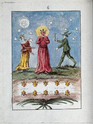 view A red-faced king stands in a red robe, flanked by a queen and the deity Mercury in green clothes; representing a stage in the process of alchemy. Coloured etching, ca. 18th century.