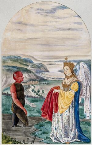 view A black man with a red head and right arm emerges from a foul stream into a landscape where a winged woman is waiting for him with a red garment; representing the transformations of the alchemical work from corruption to perfection. Watercolour painting.