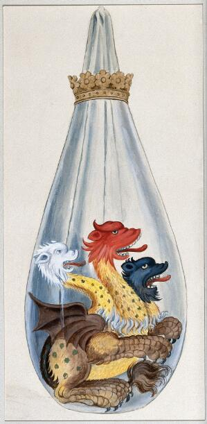 view A three headed monster in an alchemical flask, representing the composition of the alchemical philosopher's stone: salt, sulphur, and mercury. Watercolour painting.