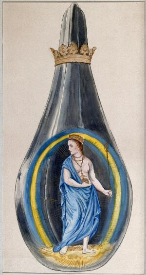 view A queen dressed in blue, representing mercury, in a crowned alchemical flask. Watercolour painting.