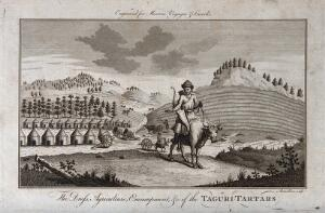 view A Tartar warrior mounted on an ox, behind him an encampment of tents (left), and a ploughed field (right) Engraving by Rennoldson, c.1760.