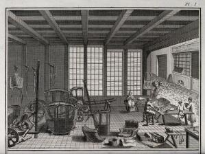 view A saddler's and coach-builder's establishment, in a cobbled mews in Paris (?). Engraving, c.1762, by Benard after Lucotte.