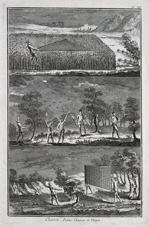 view Hunting: nets for catching ground birds, and hunting at night with torches. Engraving, c.1762, by B.-L. Prevost.