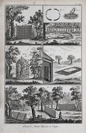 view Hunting: nets for catching ground-feeding birds, and a wolf-trap (?) Engraving, c.1762 by B.-L. Prevost.