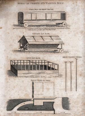 view Pens suitable for feeding and washing sheep. Engraving, early nineteenth century.