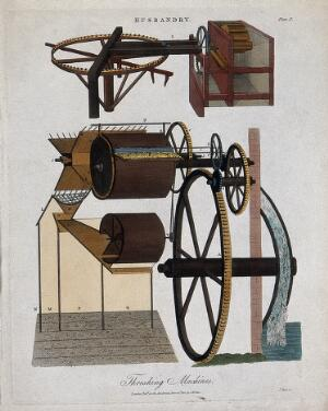 view Agriculture: two threshing machines. Coloured engraving by J. Pass, 1810.