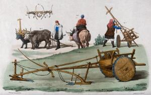 view Agriculture: peasants, ploughs and carts of Sardinia. Coloured engraving by A.J. Lallemand after Gonin after Cominotti.