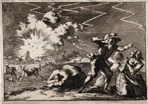 view Lightning striking a rural building during a storm: onlookers react in terror. Engraving, 16--.