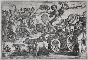 view Ceres on a chariot with children representing the months March, April and May, surrounded by forms of natural abundance, corybantes and cherubs, symbolising the element earth. Etching by A. Tempesta, 1592.