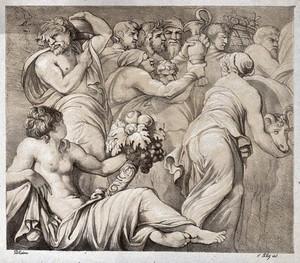 view A procession towards a sacrifice. Lithograph by F. Piloty after Polidoro da Caravaggio.
