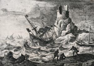 view A storm at sea, with a sailing ship being wrecked on rocks, scavengers on the shore haul in booty. Etching.
