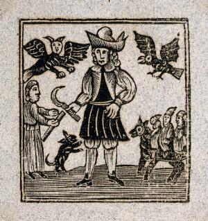 view A man holds a scythe as winged creatures fly above him, three figures approach on a horse, and another figure approaches from the left with a scroll. Woodcut, ca. 1700-1720.
