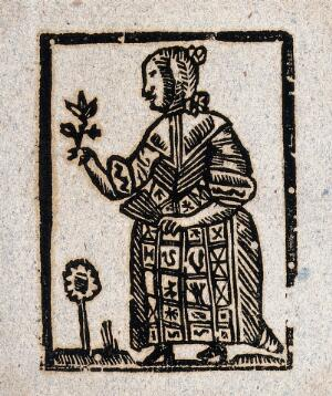 view A witch holding a plant in one hand and a fan in the other. Woodcut, ca. 1700-1720.