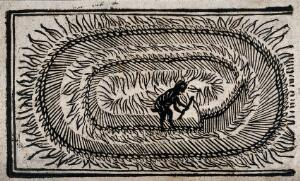 view A devil hacks a field with a scythe. Woodcut, ca. 1700-1720.