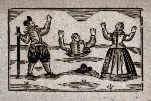 view A man buried up to his waist holds his hands up above his head: a man and a woman stand on either side watching him in distress. Woodcut, 17--.