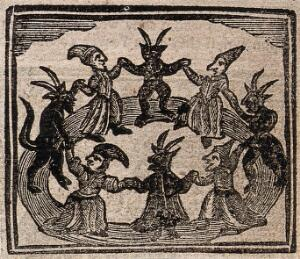 view Witchcraft: witches and devils dancing in a circle. Woodcut, 1720.