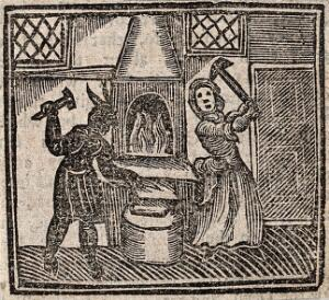 view Witchcraft: a witch and a devil making a nail with which to make a boy lame. Woodcut, 1720.