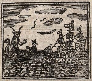 view Witchcraft: a ship being confronted by a sea-devil (?). Woodcut, 1720.