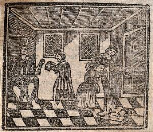 view Witchcraft: a bewitched woman vomiting. Woodcut, 1720.
