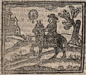view Witchcraft: a man on horseback. Woodcut, 1720.