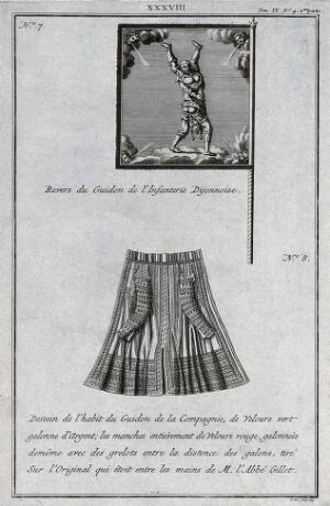 view The reverse side of a flag and dress coat which it is claimed belongs to the Dijon infantry. Engraving by P. Yver, 1743.