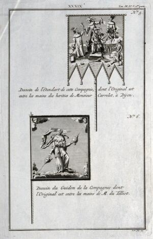 view Two designs for flags possibly for a theatrical company. Engraving by P. Yver, 1743.