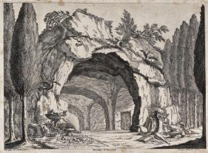 view A grotto containing a magic circle, books and mythical creatures. Etching by J. Vezzani, 1728, after G. Rocchetti.
