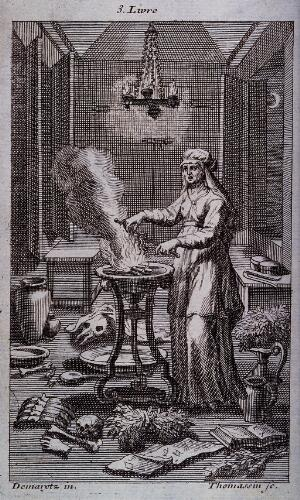 view A witch casting spells over a steaming cauldron. Engraving by H.S. Thomassin after Demaretz.