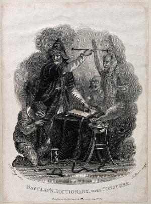 view A conjurer casting spells with his wand and fire surrounded by a kneeling man and demons within the magic circle. Engraving by J. Brown after W.M. Craig, 1813.