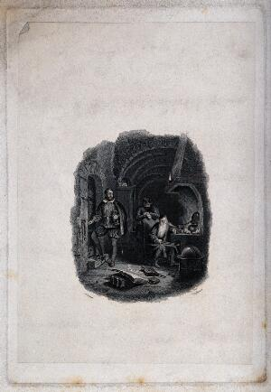 view An old wizard sitting within a magic circle at his desk visited by a nobleman. Engraving by T. Engleheart after A. Fraser the elder.