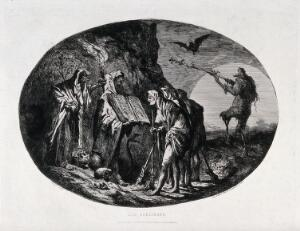 view Witches meeting and performing spell. Etching by J.A.A. Pastelot.