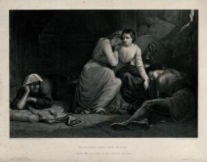 view Amoret and Aemylia, with Prince Arthur (right), in the cottage of Sclaunder (Slander). Engraving by G.A. Periam after F.R. Pickersgill.