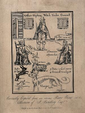 view Matthew Hopkins, Witchfinder general, with two supposed witches calling out the names of their demons, some of which are represented by animals. Etching, 1792, after an earlier woodcut.