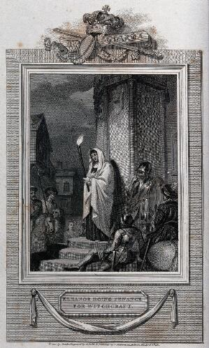 view Eleanor doing penance for witchcraft. Engraving by A. Smith, 1811, after R. Smirke.