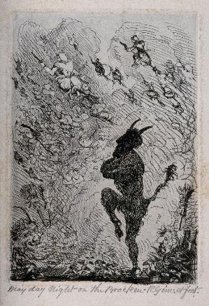view Walpurgisnacht: a devil sees witches on broomsticks setting off into the night. Etching by R. Girling.