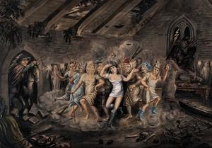 view A man on horseback enters a church to discover an orgiastic sabbath. Watercolour painting.
