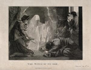 view The witch of Endor conjures up the ghost of Samuel at the request of Saul, who lies petrified on the ground. Engraving by R.I. Martin after B. West.
