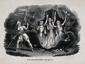 view Macbeth meets the three witches; scene from Shakespeare's 'Macbeth'. Wood engraving, 19th century.