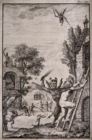 view Devils whipping monks in a village. Engraving, 17--.