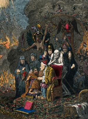 view Voltaire instructing the infant Jacobinism. Coloured etching after J. Gillray, ca. 1800.