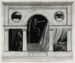 view The Pythia of Delphi (Delphic oracle), in her temple, giving prophecies to people. Etching by M. Dasio, 1901.