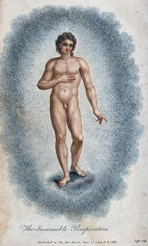 view A young man holding his hand to his heart, emanating insensible perspiration. Colour stipple engraving by J. Pass, 1794, after E. Sibly.