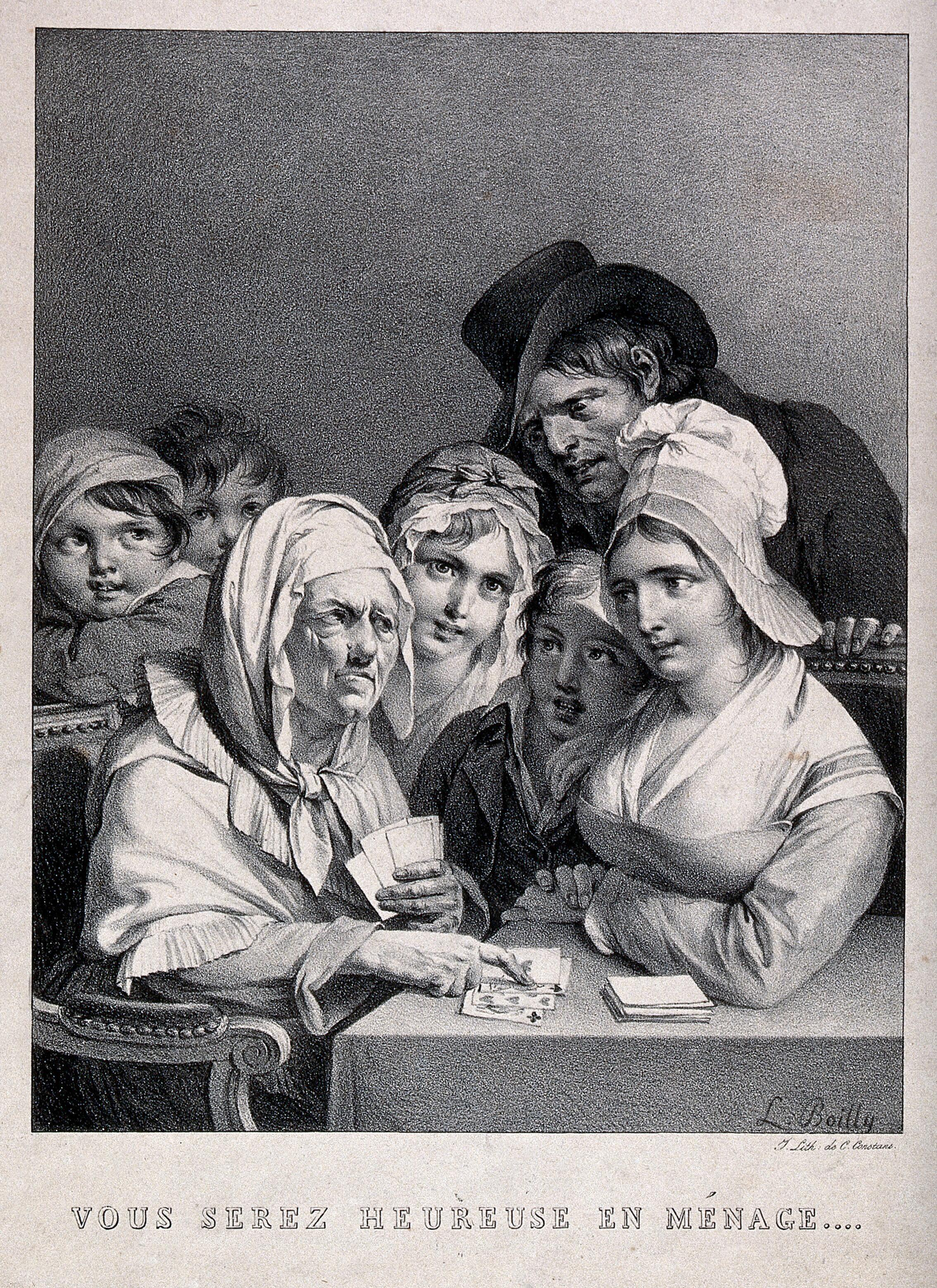 A young woman of humble origins, surrounded by children, is being