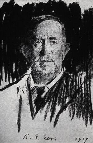 view Sir Norman Moore. Photograph after a photograph after a crayon drawing, 1917.