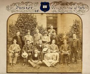 view Oxford University: the Junior Science Club; surmounted by the University crest. Photograph, 1894.