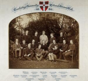 view Cambridge University: the Natural Science Club; surmounted by the University crest. Photograph, 1885.