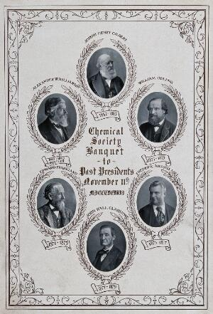 view The Chemical Society, London: six past presidents, each in a roundel, head and shoulders. Process print, 1898.