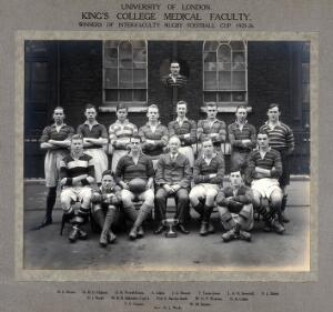 view King's College (London) Medical Faculty Rugby Team: group portrait of winning team with cup for the 1925-1926 season. Photograph, 1926.