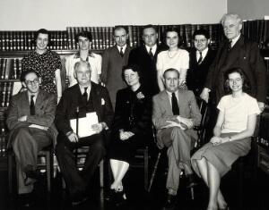 view Johns Hopkins University, Baltimore: the Institute for the History of Medicine: staff: group portrait. Photograph by Eduard Althausen, ca. 1947.